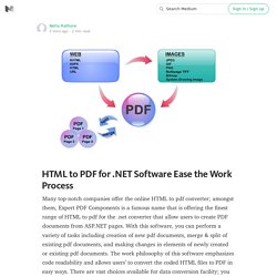 HTML to PDF for .NET Software Ease the Work Process