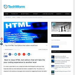 Top 10 HTML Text Editors that coders would love
