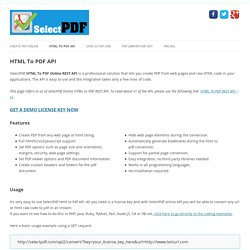 HTML To PDF API - Selectpdf