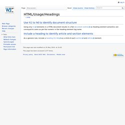 HTML/Usage/Headings - W3C Wiki