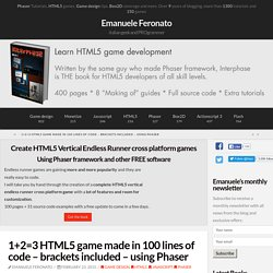 1+2=3 HTML5 game made in 100 lines of code – brackets included – using Phaser