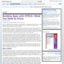 HTML5 - Building Apps with HTML5: What You Need to Know