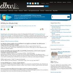 HTML5 for Ebooks FAQ