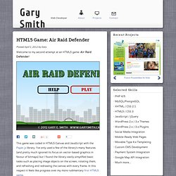 HTML5 Game: Air Raid Defender – Gary Smith