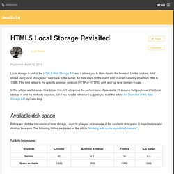 HTML5 local storage revisited
