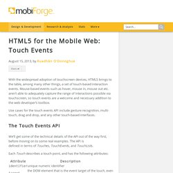 HTML5 for the Mobile Web: Touch Events - mobiForge