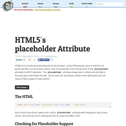 HTML5's placeholder Attribute