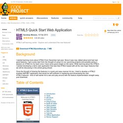 HTML5 Quick Start Web Application