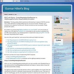 Gunnar Hillert's Blog: REST with Spring - ContentNegotiatingViewResolver vs. HttpMessageConverter+ResponseBody Annotation