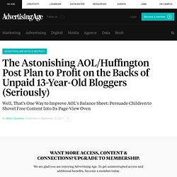 Huffington Post Seeks Teenage Bloggers to Not Pay | Commentary and analysis from Simon Dumenco