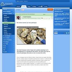 Des huîtres nourries aux micro-plastiques.
