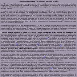 Mes textes - Droits des Humains : Un exemple d'ethnocide : les Indiens d'Amérique du Nord