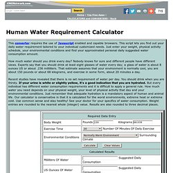 Human Water Requirement Calculator