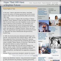 Human Rights of Tibet « Hope Tibet Will Have a Brighter Future