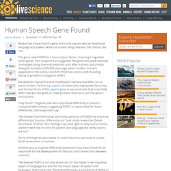 Human Speech Gene Found