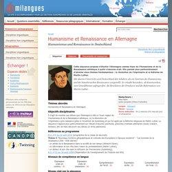 Humanisme et Renaissance en Allemagne