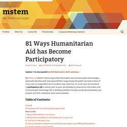 81 Ways Humanitarian Aid has Become Participatory