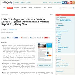 UNICEF Refugee and Migrant Crisis in Europe: Regional Humanitarian Situation Report # 11, 4 May 2016 - the former Yugoslav Republic of Macedonia