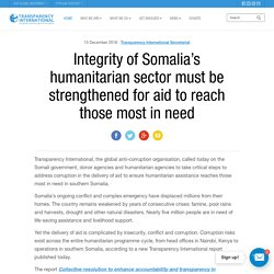 Integrity of Somalia's humanitarian sector must be strengthened for aid to reach those most in need