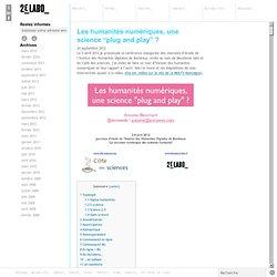 2 – Les humanités numériques en un tour d'horizon – Antoine Blanchard
