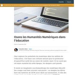 Osons les Humanités Numériques dans l'éducation