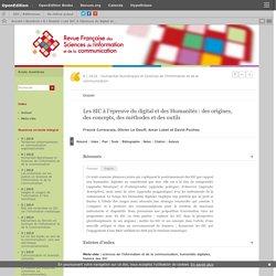 Les SIC à l'épreuve du digital et des Humanités: des origines, des concepts, des méthodes et des outils