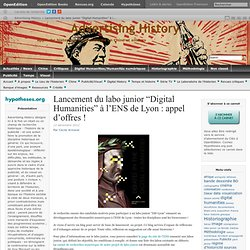"10 – Lancement du labo junior ""Digital Humanities"" à l'ENS de Lyon"