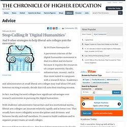 Stop Calling It 'Digital Humanities' - Advice