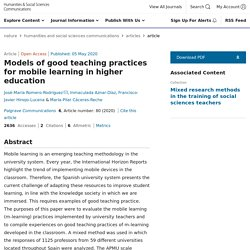 Models of good teaching practices for mobile learning in higher education