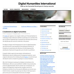L'isolement en digital humanities