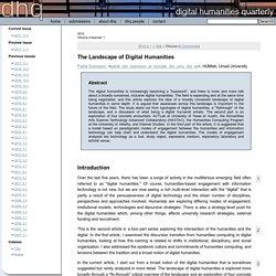 6 – The Landscape of Digital Humanities – Patrik Svensson