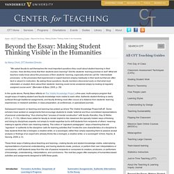 Beyond the Essay: Making Student Thinking Visible in the Humanities