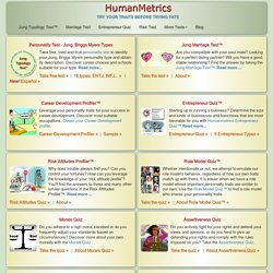 HumanMetrics - online relationships, personality and entrepreneur tests, personal solution center
