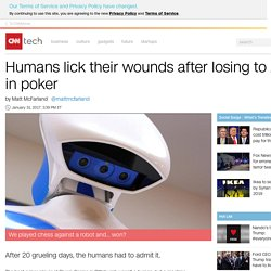 Humans lick their wounds after losing to AI in poker - Jan. 31, 2017