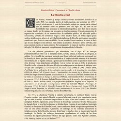 Humberto Piñera, Panorama de la Filosofía cubana: La filosofía actual