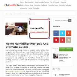 Home Humidifier Reviews – Ultimate Guides