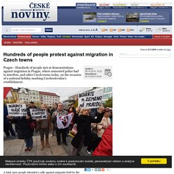 Hundreds of people protest against migration in Czech towns