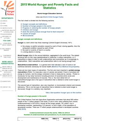 2015 World Hunger and Poverty Facts and Statistics by WHES