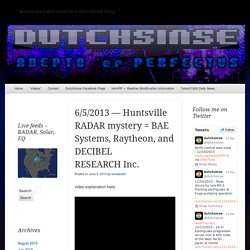 6/5/2013 — Huntsville RADAR mystery SOLVED = BAE Systems, Raytheon, and DECIBEL RESEARCH Inc.