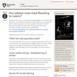 Hur jobbar man med Reading to Learn?