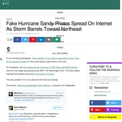 Fake Hurricane Sandy Photos Spread On Internet As Storm Barrels Toward Northeast