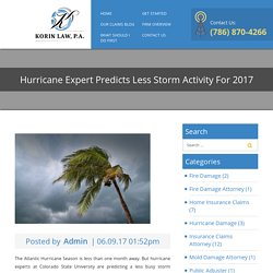 Hurricane Expert Predicts Less Storm Activity For 2017