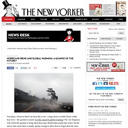 News Desk: Hurricane Irene and Global Warming: A Glimpse of the Future?