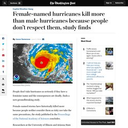 Female-named hurricanes kill more than male hurricanes because people don't respect them, study finds