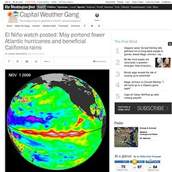 El Niño watch posted: May portend fewer Atlantic hurricanes and beneficial California rains