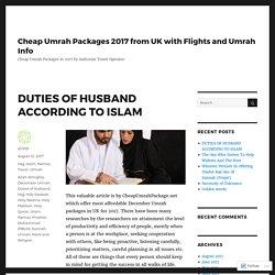 DUTIES OF HUSBAND ACCORDING TO ISLAM