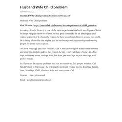 Husband Wife Child problem