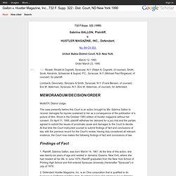 Gallon v. Hustler Magazine, Inc., 732 F. Supp. 322 - Dist. Court, ND New York 1990
