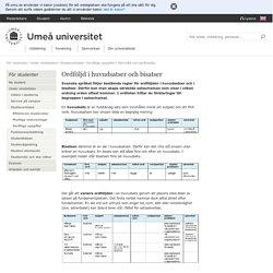 Ordföljd i huvudsatser och bisatser - För studenter - Umeå universitet
