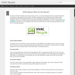 HVAC Disposal: What You Can Recycle?
